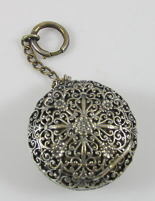 Vintage Silver Plate FIligree Lacy Round Compact Powder Box on Chain