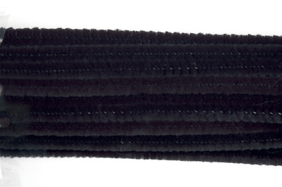Craft Factory CF099 | Black Chenille Pipe Cleaners | 6mm x 13cm | 30 pack