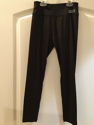 Justice Girls Black Solid Activewear Poly Blend Leggings Sz 10 (see note)