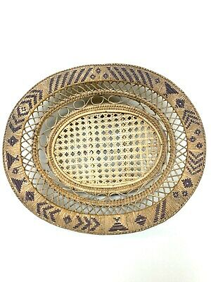 Wicker Cane Large Oval Fruit Bread Footed  Bowl