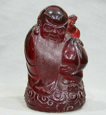 "9"" Chinese Red Amber Carving Feng Shui God of longevity Hold Peach Sculpture"