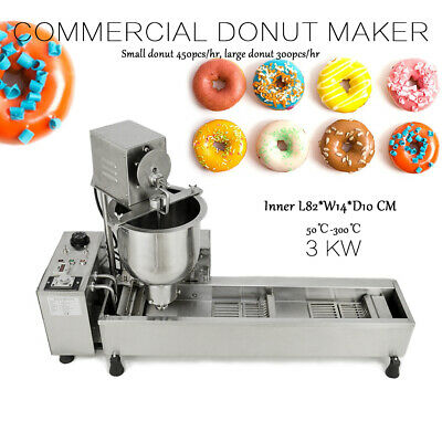 220V 3 Sets Mold Commercial Automatic Donut Maker Making Machine Wide Oil Tank