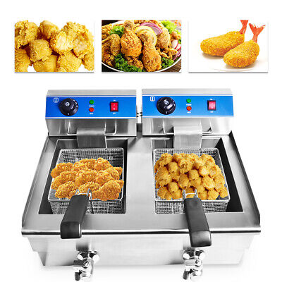 2*10L Commercial Deep Fryer Electric Double Basket w/Oil Tap Stainless Steel US