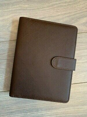 New A5 Brown PU Leather 6 Hole Binder Cover Folder File Journal Note Book Diary