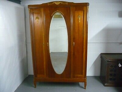 Antique 19th Century French Mahogany Armoire, Linen Cupboard, Wardrobe