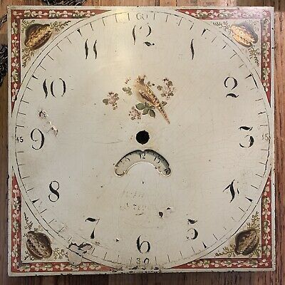 "Antique 30hr Longcase Grandfather Clock Birdcage Movement & Dial 12"" Square"