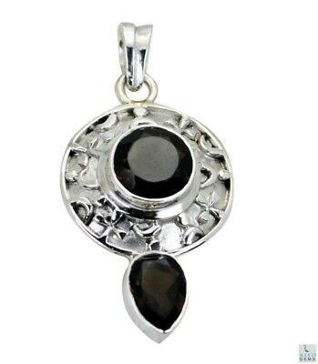Brown 925 Sterling Silver Natural enticing Smoky Quartz indian Pendant AU gift