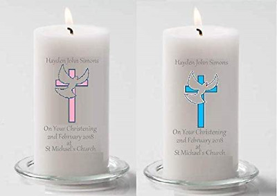 Personalised Christening Baptism Tapered Candle Baby Boy Or Girl Favour Gift
