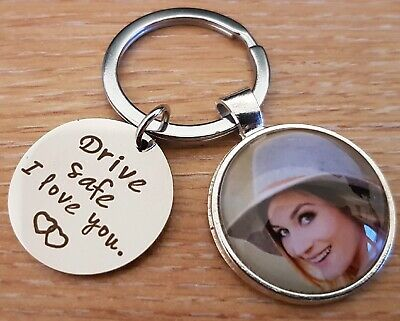 Personalised Drive Safe Photo Keyring Keychain Birthday Gift Present