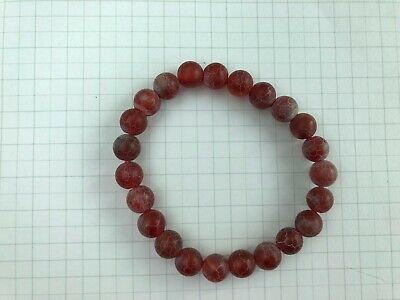 8mm Natural Red Fire Agate Stretch Bracelet Protection Energy Encourage Creative