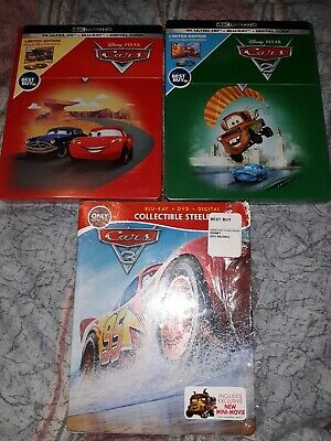 Disney Pixar Cars Trilogy 1 2 3 Blu-Ray Steelbooks New  4K