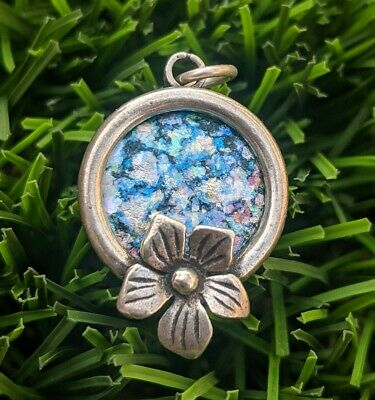 Ancient Roman Glass Flower Sterling Silver Round Pendant