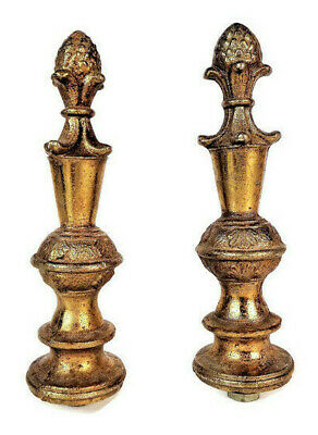 Vintage Pair of French Bronze Brass Acorn Finials Ornaments