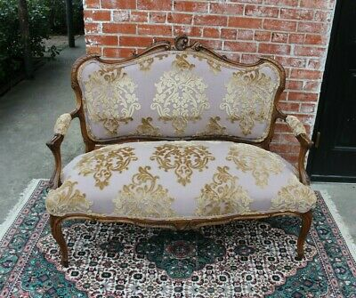French Walnut Antique Settee Loveseat Bench W/ New Upholstery
