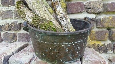 Antique primitive handmade Large Copper Pot with Iron Handle from France
