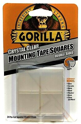 Gorilla Mounting Tape Square Double Sided Sticky Tape Adhesive Clear 1Pack 24pcs