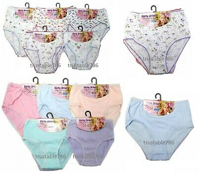 12 X Pairs of Kids Girls Soft Comfy 100% Cotton Briefs Knicker Pants