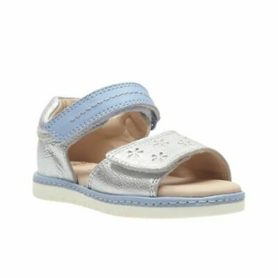 Clarks Tika Ice Fst  Silver Leather Girls Sandals Size UK 6 1/2F