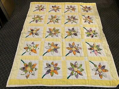 "Vintage, New,  ""Floral""  Yellow with Multicolored Flowers Quilt In Progress"