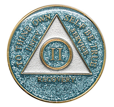 2 year AA Coin Aqua Glitter Sobriety Chip Alcoholics Anonymous Sober Medallion