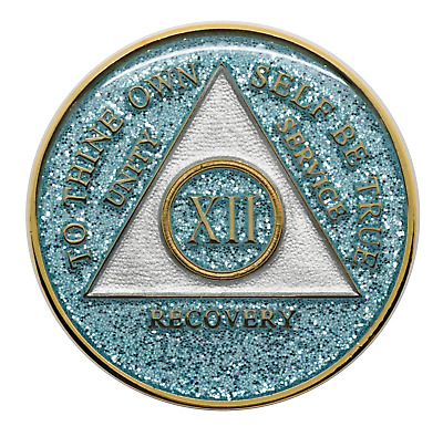 12 year AA Coin Aqua Glitter Sobriety Chip Alcoholics Anonymous Sober Medallion