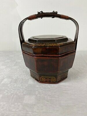 A Vintage Antique Chinese Wedding Rice Wood Basket Hand Painted Circa 1920's