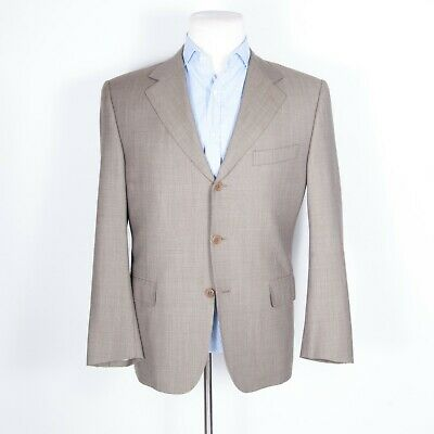 Canali IWS Super 120S Suit 3-button Jacket and Pleated Pants 100% Wool Tan 50 C