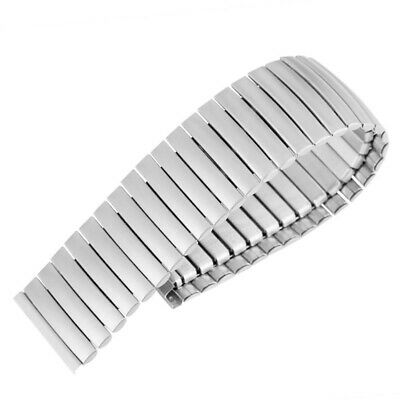 Silver Black Stainless Steel Stretch Expansion Watch Band Strap Bracelet 20/22mm