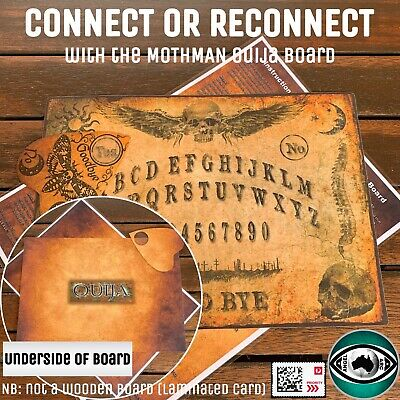 Ouija Board With Planchette & Instructions (Laminated Card) - MOTHMAN Board (V2)
