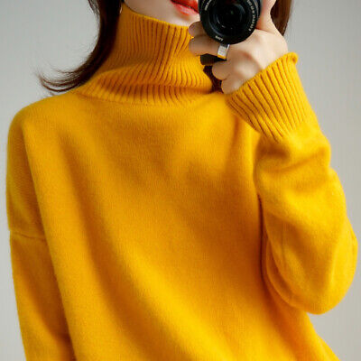 Women Thick Warm Cashmere Wool Sweater Pullover High Collar Loose Knitted Jumper