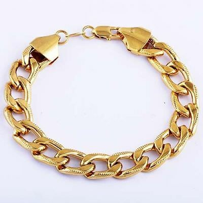 """18K Gold Plated Men Jewelry 316L Stainless Steel Curb Cuban Chain Bracelet 8-11"""""""