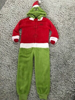 Primark Grinch 7-8 years old Christmas kids fleece jumpsuit Official Licensed