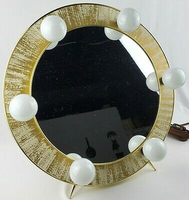 Hollywood Regency Lighted Round Mirror Makeup Mirror Wall or Desk Top 6 Bulbs