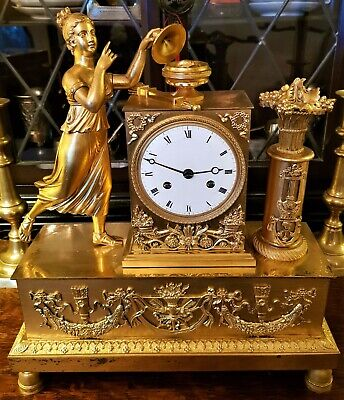 Antique French Emperial Ormolu Figural Mantel Clock.