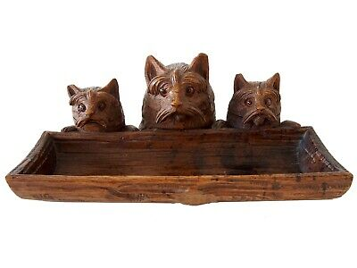 Black Forest Brienz. Dogs Sculpture Swiss carving. 9 2/3'' Inkwell