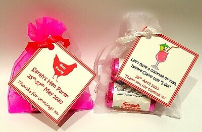 10 X Hen Party Favours * Hen Night -Personalised * Mini Love Hearts Bag Gifts