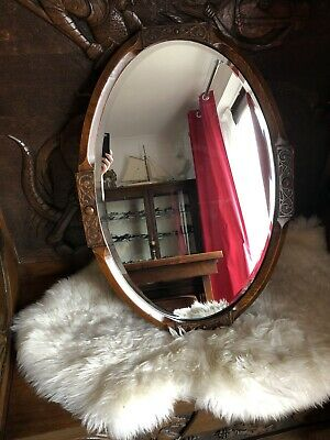 Antique Carved Oak Bevelled Mirror Art Nouveau Heavy Wall Hanging in Dark Wood