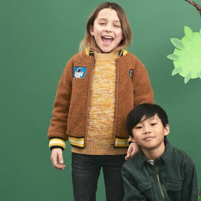 NWT $242 Stella McCartney Kids Teddy Bomber Jacket with Space Patches 12 Y
