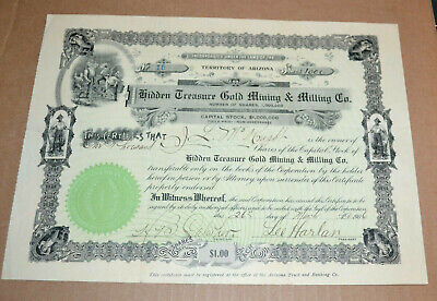 Hidden Treasure Gold Mining & Milling Co. 1906 antique stock certificate