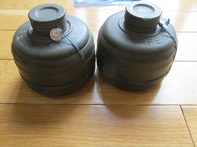 (2) German Gas Mask Filters! NATO Cool! Fight The Warsaw Pact! Open Fire! POW!!!