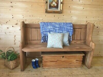 Antique rustic solid wooden pine church pew settle monks bench wooden hall seat