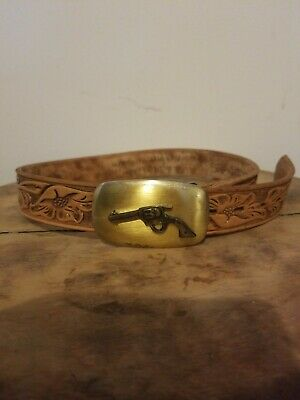 Boys Vintage Leather Belt With Buckle Size Sm 22-24