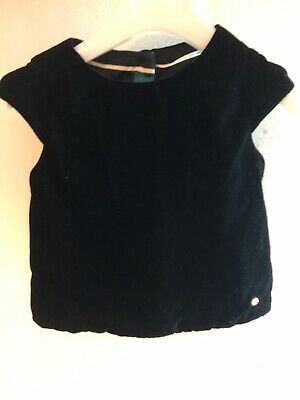 🎁M&S Autograph Girls Black Velvet Top, Age 1.5-2 Years