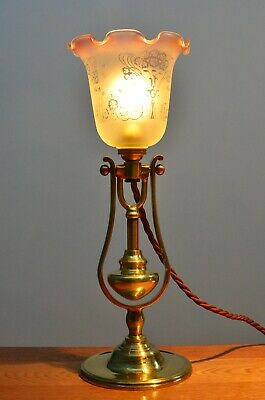 Brass antique gimbal ships / nautical table lamp / light from early 1900's