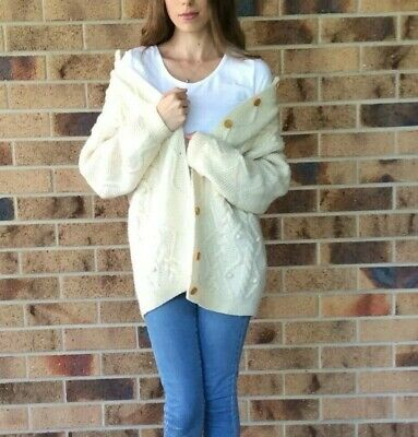 Vintage Chunky Cable Knit Cardigan Size M - L Ivory White 100% Pure New Wool