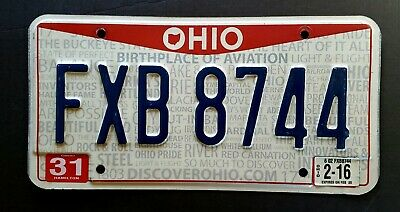 """Ohio BIRTHPLACE of AVIATION """" 2016 OH License Plate FXB 8744"""
