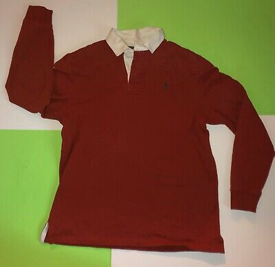 Polo Ralph Lauren Custom Fit Rugby - Red Rugby Shirt - Men's L Vintage 🔥