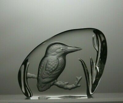 Heavy Rock Crystal Glass bird Sculpture Paperweight Ornament