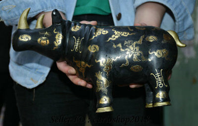 """11.6"""" Old Chinese Wood Lacquerware Carved Rhinoceros Bull Oxen Cattle Statue"""