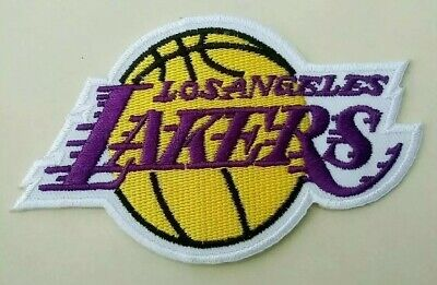 Los Angeles Lakers Width 3.5 Inch Embroidered Iron On Patch.